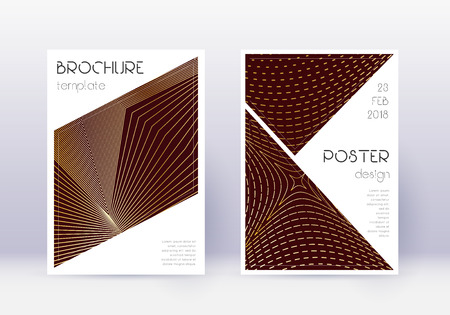 Triangle cover design template set. Gold abstract lines on maroon background. Great cover design. Memorable catalog, poster, book template etc. 向量圖像