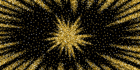 Round gold glitter luxury sparkling confetti. Scattered small gold particles on black background. Attractive festive overlay template. Charming vector illustration.