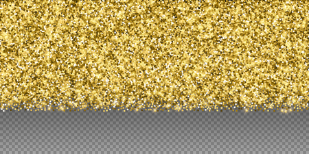 Sparkling gold luxury sparkling confetti. Scattered small gold particles on trasparent background. Alluring festive overlay template. Amazing vector illustration.