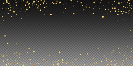Gold stars random luxury sparkling confetti. Scattered small gold particles on transparent background. Extraordinary festive overlay template. Emotional vector illustration. Ilustrace