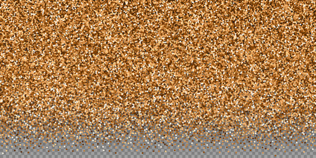 Red round gold glitter luxury sparkling confetti. Scattered small gold particles on transparent background. Breathtaking festive overlay template. Unusual vector illustration.