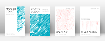 Cover page design template. Minimal brochure layout. Captivating trendy abstract cover page. Pink and blue grunge texture background. Shapely poster.