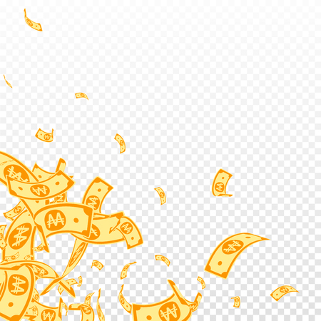 Korean won notes falling. Messy WON bills on transparent background. Korea money. Decent vector illustration. Stunning jackpot, wealth or success concept.