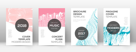 Cover page design template. Modern brochure layout. Cool trendy abstract cover page. Pink and blue grunge texture background. Magnificent poster.