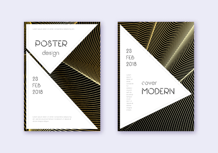 Stylish cover design template set. Gold abstract lines on black background. Fair cover design. Imaginative catalog, poster, book template etc.