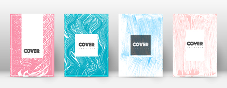 Cover page design template. Hipster brochure layout. Breathtaking trendy abstract cover page. Pink and blue grunge texture background. Valuable poster.  イラスト・ベクター素材