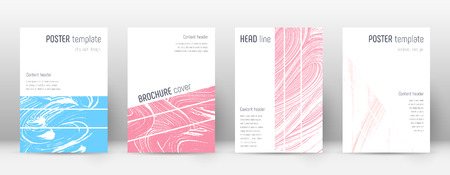 Cover page design template. Geometric brochure layout. Bold trendy abstract cover page. Pink and blue grunge texture background. Fascinating poster.