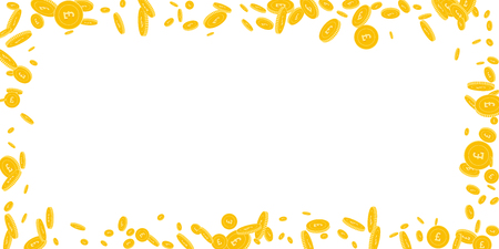 British pound coins falling. Scattered disorderly GBP coins on white background. Nice wide scattered frame vector illustration. Jackpot or success concept.