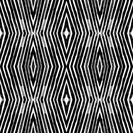 Dark black and white Geometric Watercolor. Decent Seamless Pattern. Hand Drawn Stripes. Brush Texture. Neat Chevron Ornament. Fabric Cloth Swimwear Design Wallpaper Wrapping.