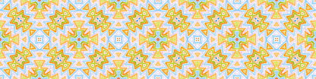 Colorful Seamless Border Scroll. Geometric Watercolor Frame. Alive Seamless Pattern. Medallion Repeated Tile. Imaginative Chevron Ribbon Ornament.