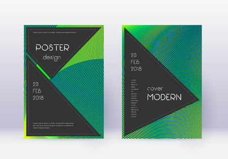 Black cover design template set. Green abstract lines on dark background. Actual cover design. Superb catalog, poster, book template etc.
