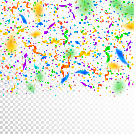 Streamers and confetti. Colorful tinsel and foil ribbons. Confetti gradient on white transparent background. Beauteous paty overlay template. Shapely celebration concept. Illusztráció