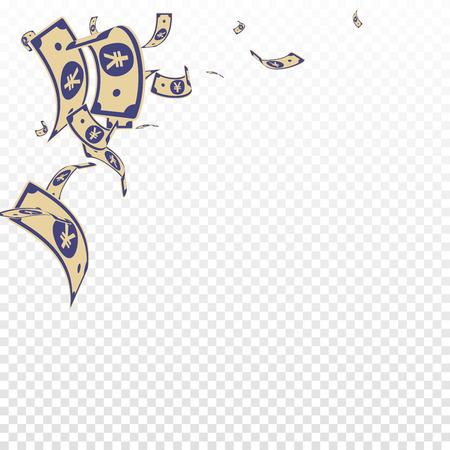 Chinese yuan notes falling. Random CNY bills on transparent background. China money. Elegant vector illustration. Radiant jackpot, wealth or success concept.