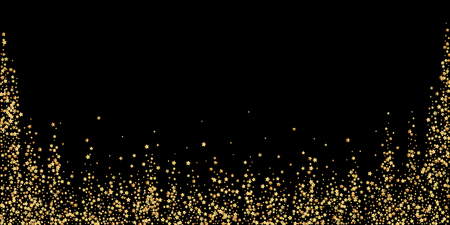 Gold stars luxury sparkling confetti. Scattered small gold particles on black background. Beautiful festive overlay template. Bold vector illustration. Ilustrace