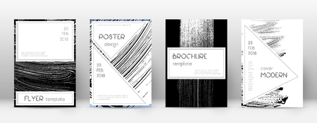 Cover page design template. Stylish brochure layout. Creative trendy abstract cover page. Black and white grunge texture background. Overwhelming poster.