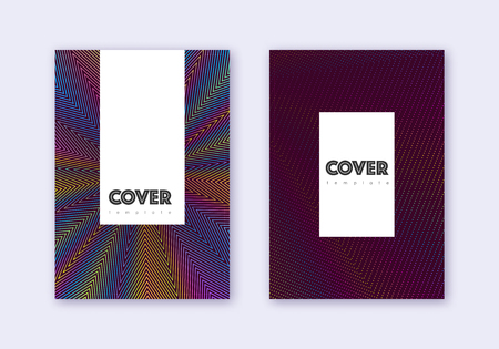 Hipster cover design template set. Rainbow abstract lines on wine red background. Classy cover design. Extra catalog, poster, book template etc.