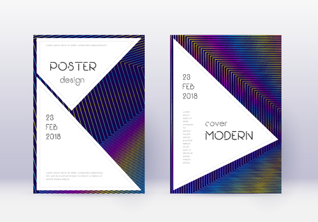 Stylish cover design template set. Rainbow abstract lines on dark blue background. Fantastic cover design. Incredible catalog, poster, book template etc.
