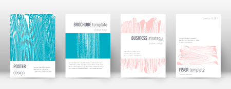 Cover page design template. Minimalistic brochure layout. Classic trendy abstract cover page. Pink and blue grunge texture background. Sublime poster.