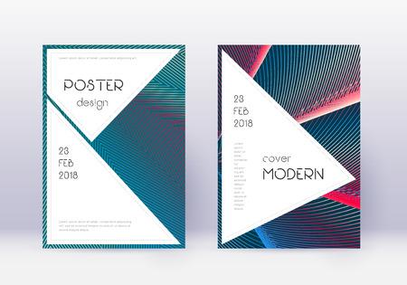 Conjunto de plantillas de diseño de portada con estilo. Líneas abstractas rojas sobre fondo azul blanco. Diseño de portada fascinante. Bonito catálogo, póster, plantilla de libro, etc.