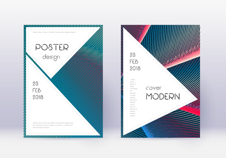 Elegante set di modelli di copertina. Linee astratte rosse su sfondo blu bianco. Affascinante design della copertina. Catalogo, poster, modello di libro, ecc.