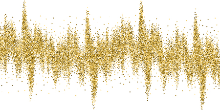Gold triangles glitter luxury sparkling confetti. Scattered small gold particles on white background. Beauteous festive overlay template. Favorable vector illustration. Ilustrace