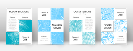 Cover page design template. Business brochure layout. Bizarre trendy abstract cover page. Pink and blue grunge texture background. Attractive poster.