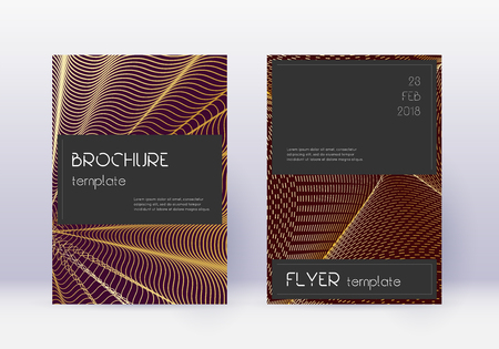 Black cover design template set. Gold abstract lines on maroon background. Alluring cover design. Cute catalog, poster, book template etc.