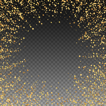 Gold confetti luxury sparkling confetti. Scattered small gold particles on transparent background. Appealing festive overlay template. Fabulous vector illustration.