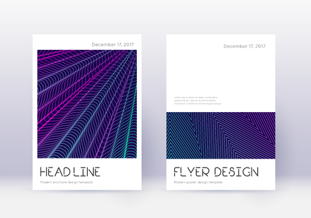 Minimal cover design template set. Neon abstract lines on dark blue background. Delightful cover design. Favorable catalog, poster, book template etc.