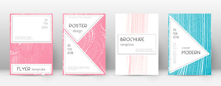 Cover page design template. Stylish brochure layout. Charming trendy abstract cover page. Pink and blue grunge texture background. Classic poster.