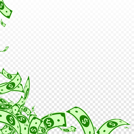 American dollar notes falling. Messy USD bills on transparent background. USA money. Classy vector illustration. Graceful jackpot, wealth or success concept.