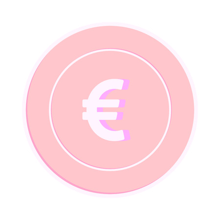 European Union Euro coin isolated on white background. EUR copper pink coin. Europe metal money. Fetching cartoon vector illustration.