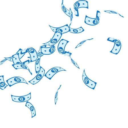 Bitcoin, internet currency notes falling. Floating BTC bills on white background. Cryptocurrency, digital money. Admirable vector illustration. Indelible jackpot, wealth or success concept.