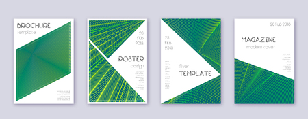 Triangle brochure design template set. Green abstract lines on dark background. Bold brochure design. Shapely catalog, poster, book template etc.