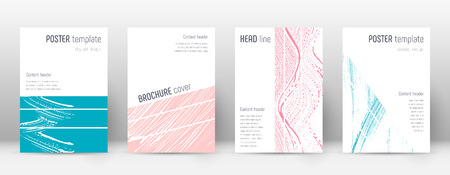 Cover page design template. Geometric brochure layout. Bold trendy abstract cover page. Pink and blue grunge texture background. Interesting poster.