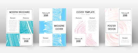 Cover page design template. Business brochure layout. Bewitching trendy abstract cover page. Pink and blue grunge texture background. Charming poster.