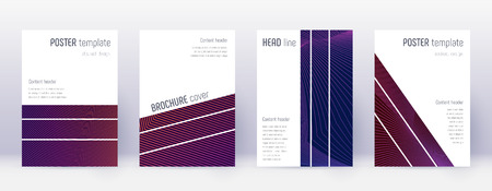 Geometric brochure design template set. Violet abstract lines on dark background. Amazing brochure design. Classy catalog, poster, book template etc.