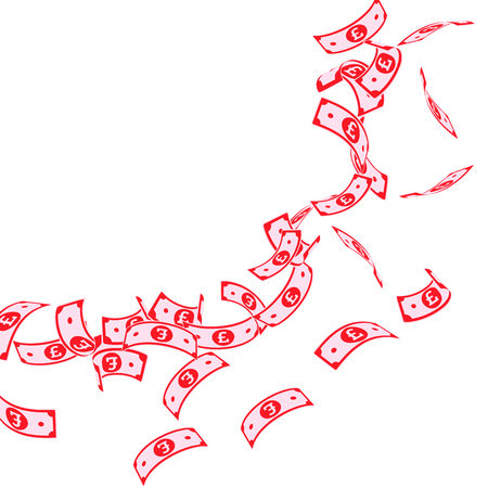 British pound notes falling. Floating GBP bills on white background. United Kingdom money. Attractive vector illustration. Authentic jackpot, wealth or success concept.