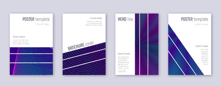 Geometric brochure design template set. Neon abstract lines on dark blue background. Alluring brochure design. Brilliant catalog, poster, book template etc.