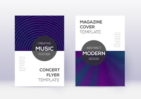 Modern cover design template set. Neon abstract lines on dark blue background. Exceptional cover design. Unusual catalog, poster, book template etc.