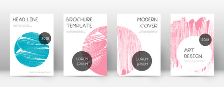 Cover page design template. Trendy brochure layout. Classic trendy abstract cover page. Pink and blue grunge texture background. Fascinating poster. Ilustração