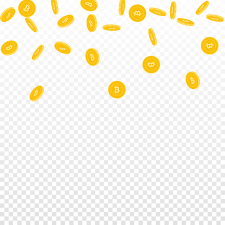 Bitcoin, internet currency coins falling. Scattered sparse BTC coins on transparent background. Alluring scatter top gradient vector illustration. Jackpot or success concept.