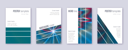 Geometric brochure design template set. Red abstract lines on white blue background. Alluring brochure design. Terrific catalog, poster, book template etc.