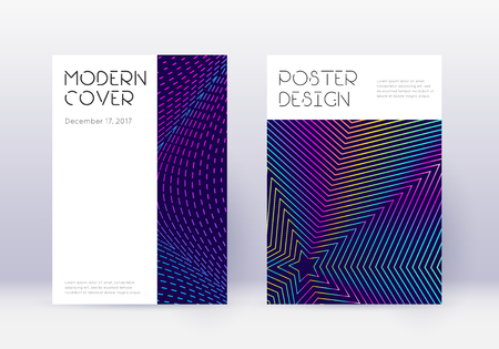 Minimal cover design template set. Rainbow abstract lines on dark blue background. Dazzling cover design. Valuable catalog, poster, book template etc.