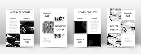 Cover page design template. Business brochure layout. Beautiful trendy abstract cover page. Black and white grunge texture background. Neat poster. Çizim
