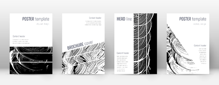 Cover page design template. Geometric brochure layout. Bizarre trendy abstract cover page. Black and white grunge texture background. Juicy poster. Çizim
