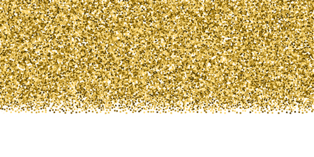 Gold glitter luxury sparkling confetti. Scattered small gold particles on white background. Bold festive overlay template. Symmetrical vector illustration.