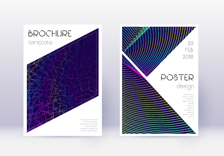 Triangle cover design template set. Rainbow abstract lines on dark blue background. Imaginative cover design. Ecstatic catalog, poster, book template etc.