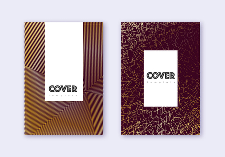 Hipster cover design template set. Gold abstract lines on maroon background. Charming cover design. Ecstatic catalog, poster, book template etc.