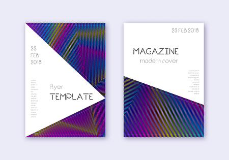 Triangle cover design template set. Rainbow abstract lines on dark blue background. Incredible cover design. Remarkable catalog, poster, book template etc.